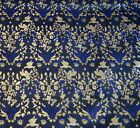 Pure Natural Silk Brocade Fabric Vintage Jacquard Floral Upholstery Textile