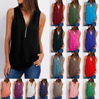 Summer Women T Shirt V-Neck Zipper Loose Casual Blouse Sleeveless Tank Tops