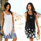 Women Summer O Neck Tank Top Dress Casual Loose Skirt Floral Print Beach Dress