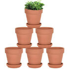10x Terracotta Flower Pot + Base Clay Pottery For Succulent Plants Rose Cactus