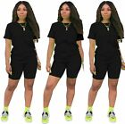 Women's 2 Piece Outfit - Casual Solid Color T-Shirts Workout Tracksuit Bodycon P