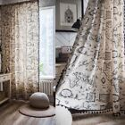 1pc Map Print Curtains Living Room Bedroom Cotton Linen Window Curtains Drape