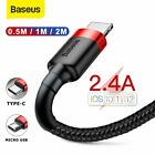 Baseus Lightning Type C Micro USB Charger Cable Data Cord for iPhone X 7 6s Plus