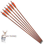 Archery 30'' Carbon Wood Arrows SP400 Turkey Feather Fletching Hunting Shooting