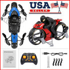 2 in 1 Motorcycle Mini Quadcopter 2.4G Land Air Dual Playing RC Stunt Drone D7W8