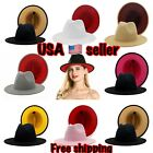 FEDORA PANAMA COWBOY INDIANA JONES UPTURN WIDE BRIM COTTON 2 TONE HAT UNISEX