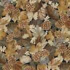 Autumn Beauties Fabric #19317 Gold Metallic Leaves Quilt Shop Quality Cotton