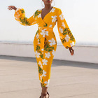 Yellow Printed Dress V Neck White Flower Long Lantern Sleeve Bodycon High Waist