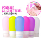 2/4 Pcs Portable 80ml Silicone Travel Bottles Lotion Shampoo Cosmetic Container