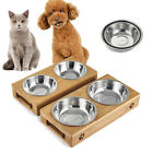M/L Double Bowls Raised Stand For Cat Pet Dog Stainless Steel Feeder Food Bowl