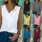 Women Summer Sleeveless V Neck Tank T Shirt Casual Solid Blouse Loose Beach Tops