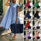 Women Short Sleeve Casual Party Dresses Loose Sundress Ladies Cotton Shirt Dress