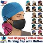 Maevn Unisex Doctor Nurse Solid Scrub Head Cover Cap with Button NC015