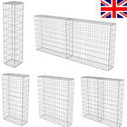Gabion Wall with Covers Galvanised Steel Stone Basket Cage Multi-sizes Silver UK