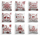 Christmas throw pillow covers, sofa white pillowcase, red backrest cover 18x18in