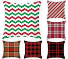 18x18 Christmas throw pillow covers, Red plaid/Twill Lumbar pillowcase for sofa