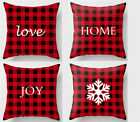 Christmas red plaid Throw Pillow covers, sofa cushion cover, new year home decor