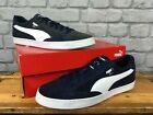 PUMA MENS MATCH VULC 2 NAVY BLUE WHITE SUEDE TRAINERS RE-DYE VARIOUS SIZES