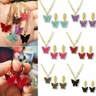 Butterfly Acrylic Sequins Clavicle Pendant Necklace Earrings Women Jewelry Set