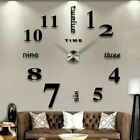 Modern Diy 3d Large Number Wall Clock Mirror Sticker Decor Home Office Room
