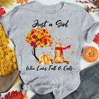 Just A Girl Who Loves Fall And Cat T-Shirt Hello Autumn Tee Gray S-5XL