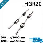 2Pcs Linear Rail Guide HGR20 800mm-1500mm +4Pcs HGH20CA Bearing Block Set CNC US