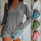 Women Fall V Neck Long Sleeve T Shirt Casual Solid Blouse Loose Tunic Basic Tops