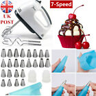 'Electric Hand Mixer Handheld 7speed Electric Whisk+27pcs Icing Piping Nozzle Set