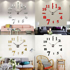 Large Wall Clock 3D Mirror Sticker Modern Big Number Watch DIY Home Wall Decor
