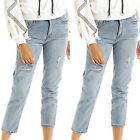 Women Ladies Ripped Frayed Skinny Cropped Pants Slim Jeans Casual Denim Trousers