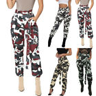 Army Women High Waist Camouflage Cargo Casual Straight Trousers Ladies Long Pant