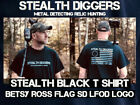 Stealth Diggers Betsy Ross flag t shirt black metal detecting live free or die