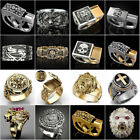 Fashion Lion Two Tone 925 Silver Rings For Men Party Ring Gift Size 6-13