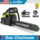 COOCHEER 62CC 20 Gas Chainsaw Handed Petrol Chain Woodcutting 2 Cycle 4HP B 152