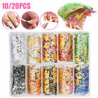 10/20PCS Mesh Nail Art Sticker Foils Transfer Decals Glitter Decoration DIY Set