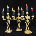 US_ Halloween Skull Skeleton Candlestick Candle Holder Bar Home Party Decor Reli