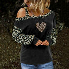 Womens Leopard Cold Shoulder T-Shirt Ladies Long Sleeve Loose Casual Blouse Tops