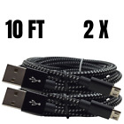 10Ft Braided Micro USB Cable Fast Charge Samsung Android Charger Data Sync Cord