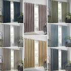 Block-out Eyelet Curtains Plain Thermal Dim-out Ready Made Ring Top Curtain Pair