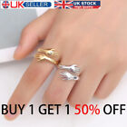 925 Gold Silver Love Hug Ring Band Open Finger Fully Adjustable Couple Jewelry