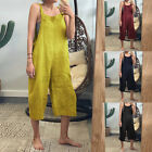 Women Strappy Wide Legs Solid Bib Cargo Pants Dungaree Playsuit Romper Jumpsuit