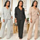 Fashion Clubwear Women V Neck Long Sleeves Buttons Wide Legs Casual Jumpsuit 2pc