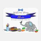Personalized Baby Boy Birth Announcement Blanket with Elephant Design - Sherpa,