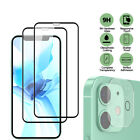 For iPhone 11 12 Pro Max FULL COVER Tempered Glass Screen Protector+Camera Lens