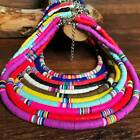 Boho Multi-color Polymer Clay Chain Flat Round Beaded Choker Necklace Jewelry Ca