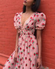 Women V Neck Strawberry Sequins Puff Sleeve Midi Dress Mesh Party Prom Ball Gown