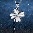 Womens 925 Sterling Silver Love Clover Pendant Chain Necklace Jewellery Gift