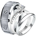 His Hers TUNGSTEN & Stainless Steel Princess CZ Engagement Ring Wedding Band Set