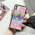 For iPhone 7 8 Plus 11 XR 12 Pro Square Trunk Phone Case Classic Pattern Cover