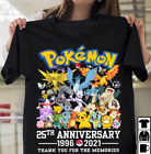 Pokemon 25th Anniversary Characters Gift For Gamers Unisex Tshirt S-5XL Black